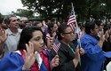"DREAMers and parents take an oath in a mock citizenship ceremony during a ""United we Dream"" rally on Capitol Hill / AP"