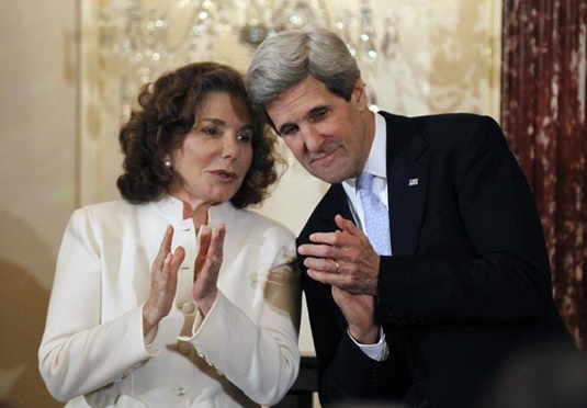 John Kerry is pictured with his wife Teresa Heinz-Kerry
