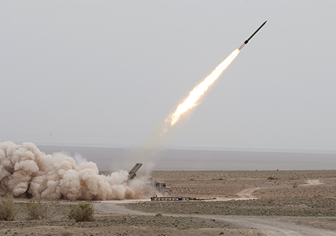 A missile is launched during exercise in central Iran in March / AP