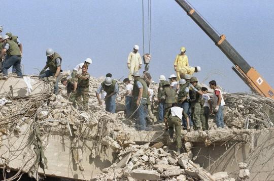 Aftermath of 1983 Marine Barracks Bombing in Beirut (AP)