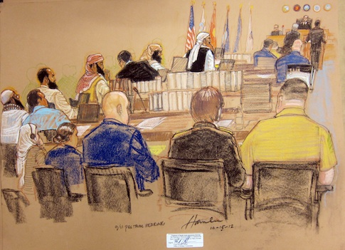 A courtroom sketch of a 2010 hearing for Kahlid Sheik Mohammed / AP