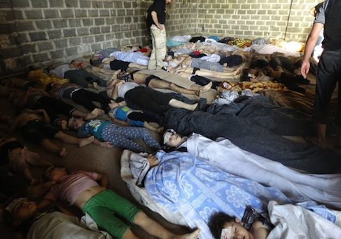 Dead bodies after Syrian government attack on Ghouta, Syria on Wednesday, Aug. 21, 2013 / AP