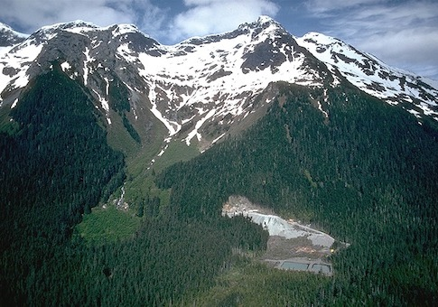 the entrance tunnel and water treatment facility for the Kensington Gold Mine against Lion Head Mountain near Juneau, Ala. / AP