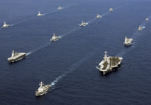 twenty-six ships from the U.S. Navy and the Japan Maritime Self-Defense Force steam together in East China Sea / AP