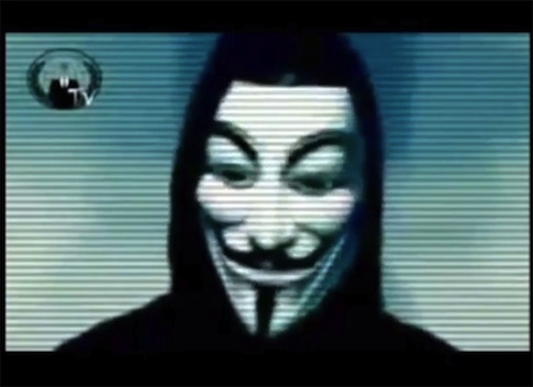 A screenshot from an 'Anonymous' video / AP