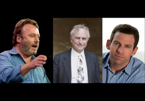 Notable atheists Christopher Hitchens, Richard Dawkins, and Sam Harris / AP