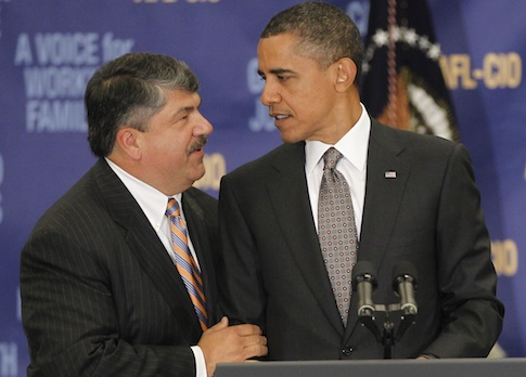 AFL-CIO Presidet Richard Trumka with President Barack Obama / AP