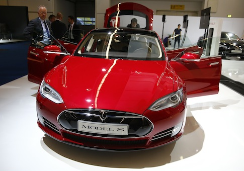A Tesla model S is displayed at Frankfurt Motor Show / REUTERS/Kai Pfaffenbach
