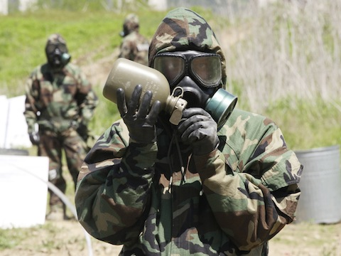 U.S. soldier during chemical, biological, and radiological drills in South Korea / AP