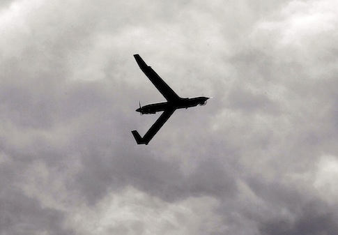 ScanEagle unmanned aircraft flying over the airport in Arlington, Ore. / AP