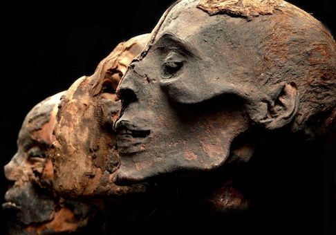 These Egyptian mummy heads are part of the Mummies of the World exhibition, the largest traveling exhibition of mummies and artifacts ever assembled. Two centuries ago, Egyptian mummies were frequently cut into pieces and sold, often to tourists. / American Exhibitions, Inc.