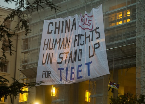 Activists protest Chinese Human Rights abuses outside U.N. European Headquarters  / AP