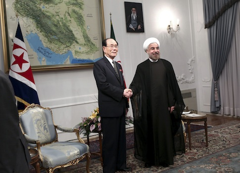 Iranian President Hassan Rouhani meets with top North Korean official Kim Yong Nam / AP