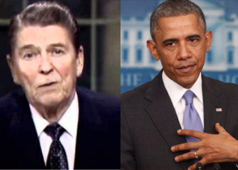 Reagan's televised address apologizing for the Iran-contra scandal and Obama apologizing for the Obamacare rollout / AP