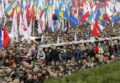 Protesters attend a rally to support EU integration in central Kiev