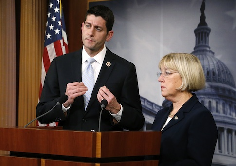 Senate Budget Committee chairman Senator Patty Murray (D-WA) (R) and House Budget Committee chairman Representative Paul Ryan (R-WI) (L) hold a news conference to introduce The Bipartisan Budget Act of 2013
