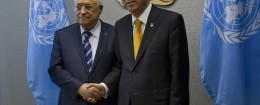 Palestinian National Authority Leader Mahmoud Abbas and UN Secretary-General Ban Ki-moon