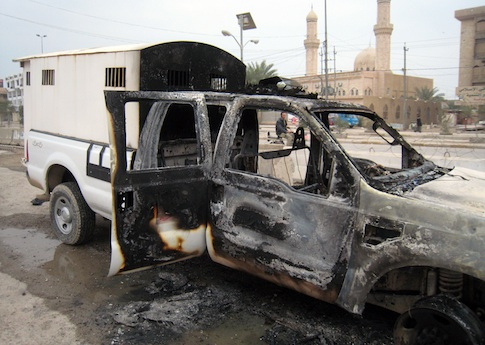 Police vehicle in Fallujah, Iraq following clash with al Qaeda / AP