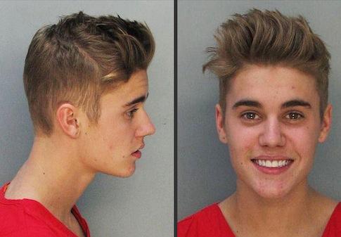 Justin Bieber's mug shot / AP