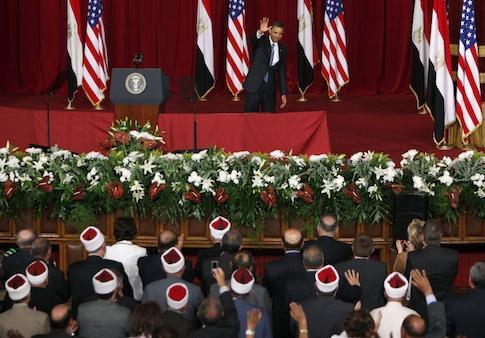 Barack Obama speaks at Cairo University, 2009 / AP