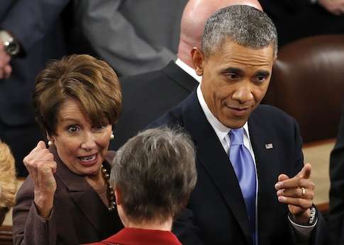 President Barack Obama, accompanied by House Minority Leader Nancy Pelosi of Calif. / AP