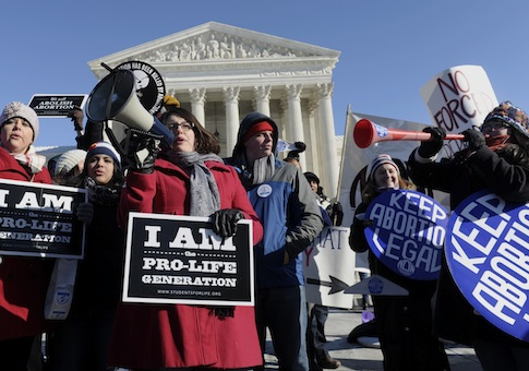Pro-abortion and anti-abortion protestors rally outside the Supreme Court in Washington