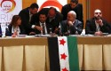 Syrian former parliamentary member Mohammad Barmo (3rd L) and members of Syrian opposition groups attend a consultative meeting in Cordoba, southern Spain January 10, 2014