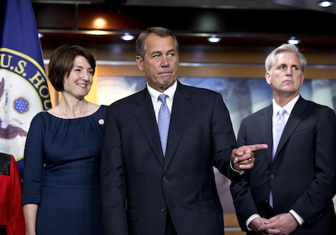 Speaker John Boehner (R., Ohio), with Reps. CAthy McMOrris Rodgers (R., Wash.), and Majority Whip Kevin McCarthy (R., Calif.) / AP