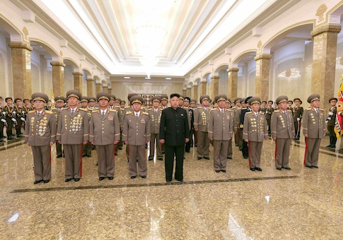 North Korean leader Kim Jong Un visits the Kumsusan Palace of the Sun on the 72nd birth anniversary of North Korea's late leader Kim Jong Il