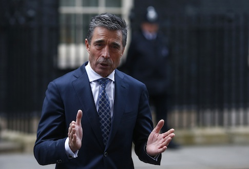 Secretary General of NATO Anders Fogh Rasmussen speaks to the media after meeting Britain's Prime Minister David Cameron at 10 Downing Street, in central London