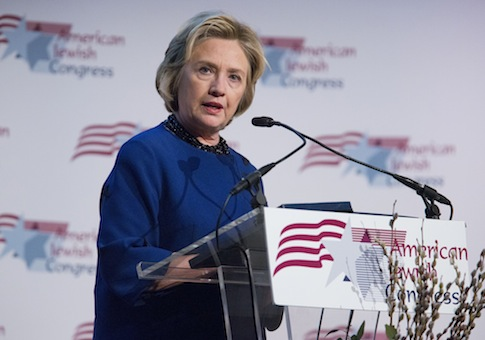Former Secretary of State Hillary Clinton giving a speech to the American Jewish Congress / AP