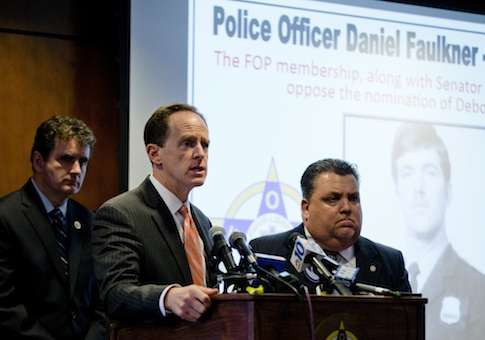 Pennsylvania Sens. Pat Toomey and Mike Fitzpatrick hold a news conference with the Fraternal Order of Police / AP