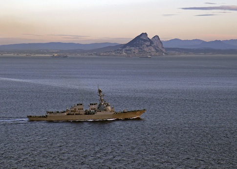 The U.S. Navy guided-missile destroyer USS Roosevelt transits the Strait of Gibraltar February 27, 2014