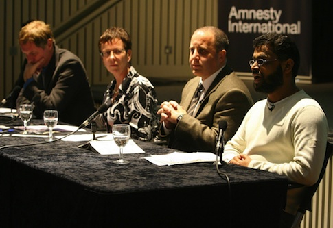 Moazzam Begg speaks at Amnesty International's 'Poems from Guantanamo' event / AP