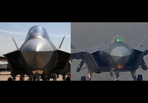 Photo comparison of the U.S. F-35 left and Chinese J-20. / Chinese website