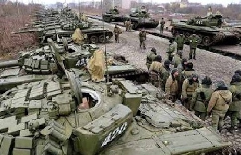 Russian troops gather near Sumy, a town in northeast Ukraine