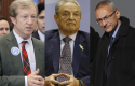 Tom Steyer, George Soros, John Podesta / AP