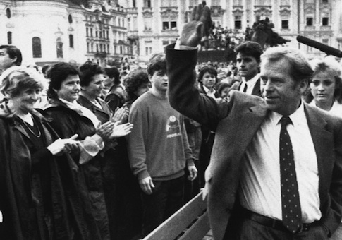 Czechoslovakian President Vaclav Havel waves to a cheering crowd in Prague