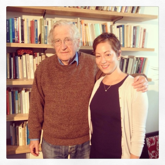 Anissa Naouai with Noam Chomsky (Facebook)