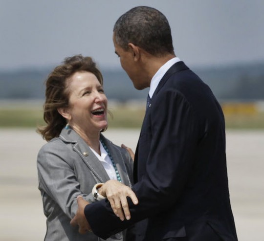 Kay Hagan embraces Obama(care) / AP