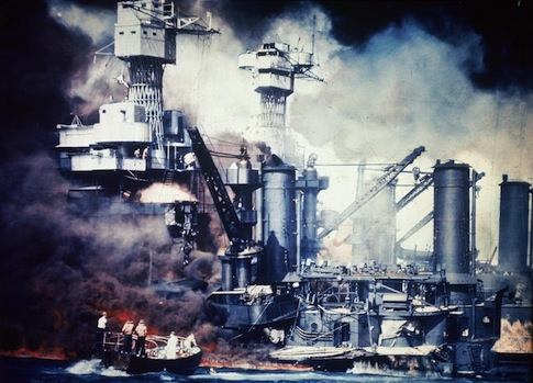 The USS West Virginia during the attack on Pearl Harbor / AP