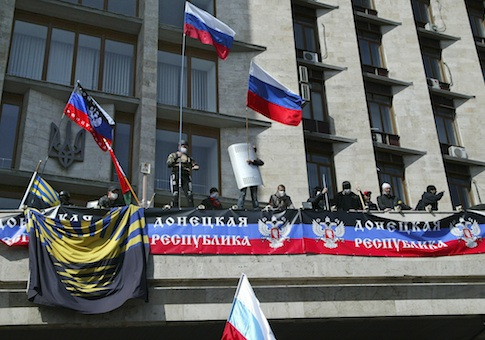 Pro-Russian activists in Donetsk, Ukraine / AP