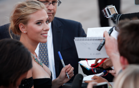 Scarlett Johansson at red carpet screening of Under the Skin (AP)