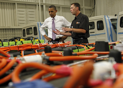 President Barack Obama  tours Smith Electric Vehicles in Kansas City, Mo. / AP