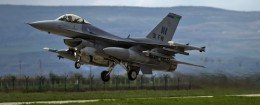 An US F16 fighter jet takes off from a Romanian air base