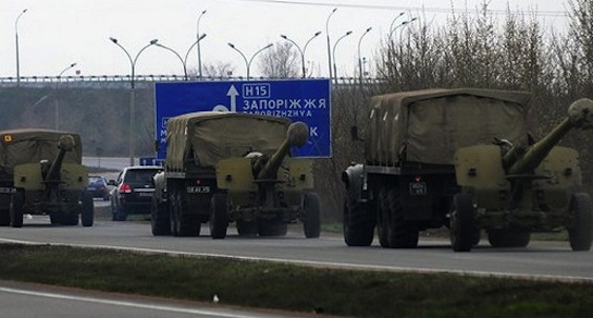 Ukrainian military convoy near Donetsk