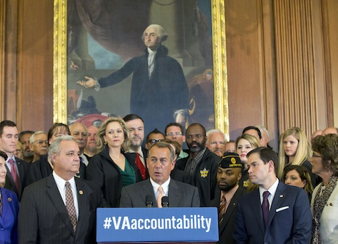 House Speaker John Boehner (R., Ohio) and Sen. Marco Rubio (R., Fla.) announce the VA accountability bill / AP