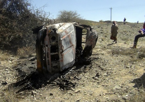 Site of drone strike in Yemen / AP