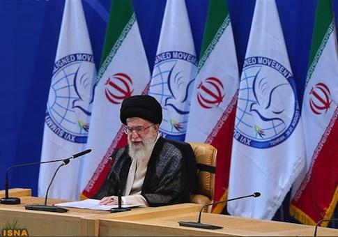 Iran's Supreme Leader Ayatollah Ali Khamenei speaks during the 16th summit of the Non-Aligned Movement in Tehran