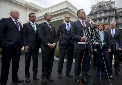 Democratic governors meet with members of the media outside the White House following a meeting with President Obama